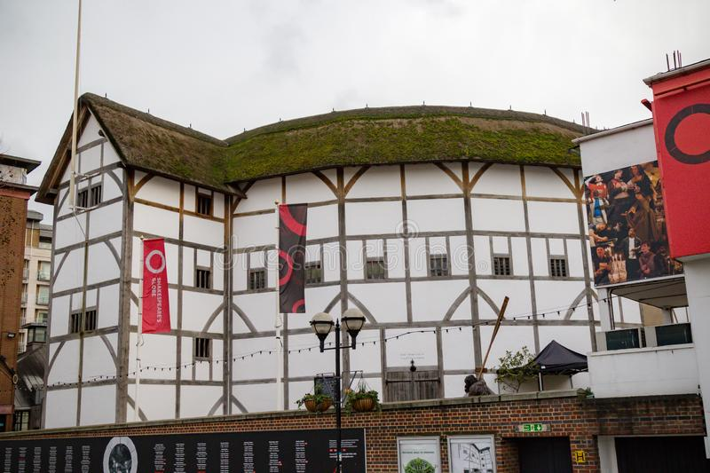 The Globe Theatre. London, United Kingdom, 31st January 2019:- Shakespeare`s Globe Theatre located on the South Bank of the Thames royalty free stock photos