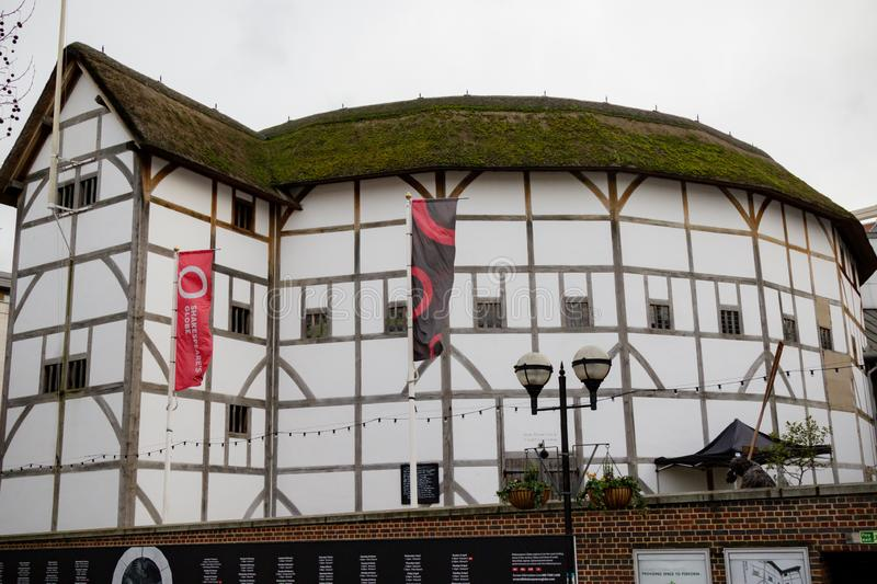 The Globe Theatre. London, United Kingdom, 31st January 2019:- Shakespeare`s Globe Theatre located on the South Bank of the Thames royalty free stock photo