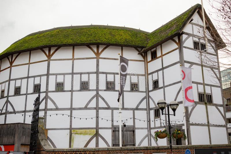 The Globe Theatre. London, United Kingdom, 31st January 2019:- Shakespeare`s Globe Theatre located on the South Bank of the Thames stock photos