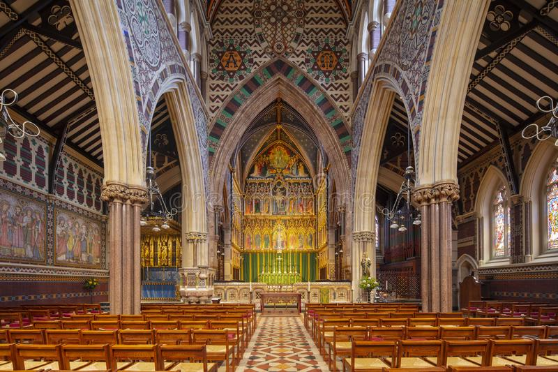 London, UK, 18th July 2019, interior of All Saints Church on Margaret Street royalty free stock image