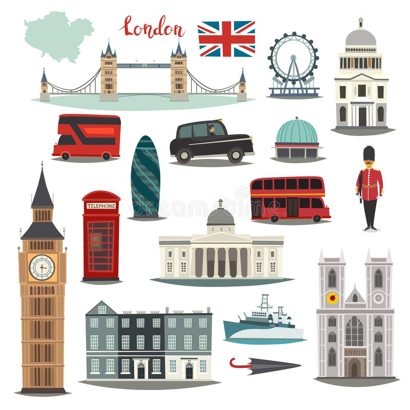 London vector illustration big collection. Cartoon United Kingdom icons: Royal Guard, Bridge Tower and red bus. royalty free illustration