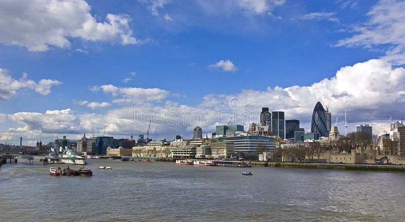 London view. Panorama of london thames and the skyline royalty free stock photos