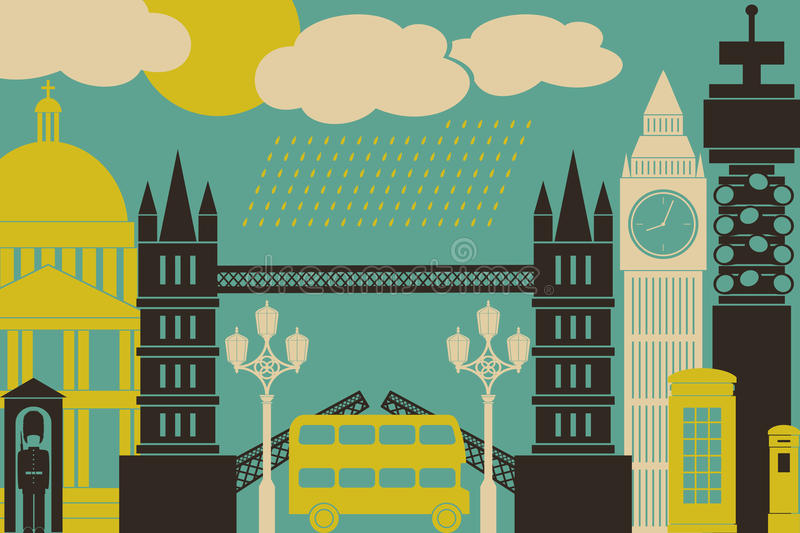 London View. Illustration of London symbols and landmarks