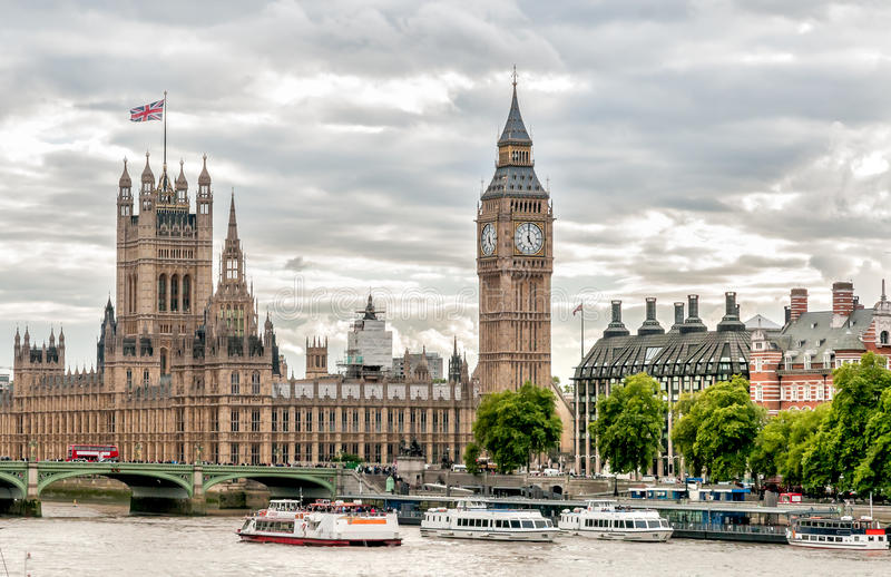 London - view of Big Ben clock tower, Houses of Parliament and Thames river with boats. London - view of Big Ben clock tower, Houses of Parliament and Thames royalty free stock photo