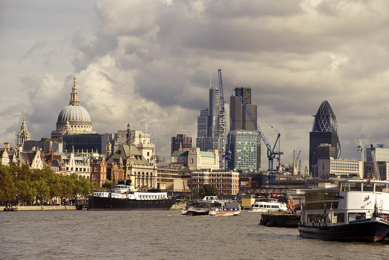 London view from the thames. View of Saint Paul's Cathedral and financial district in london stock photo