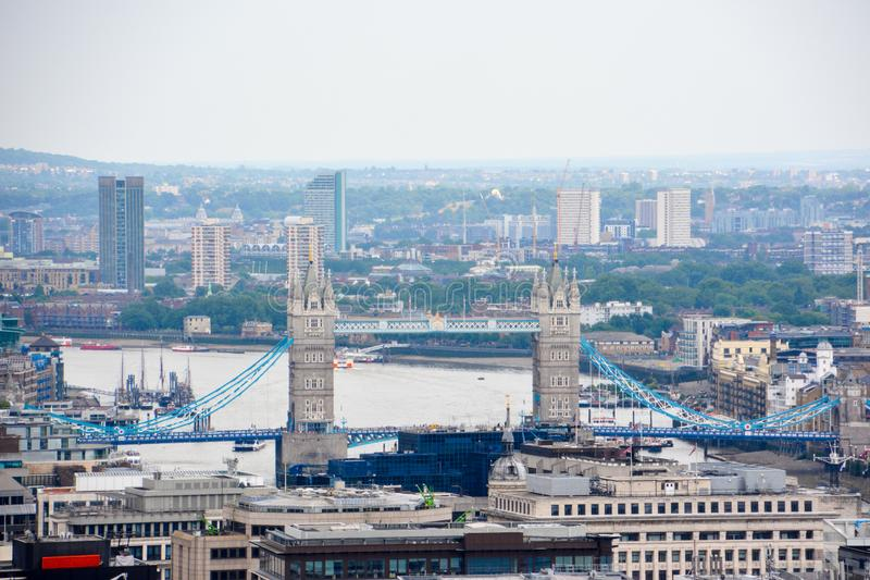 London view with Tower Bridge in on a cloudy day. royalty free stock image