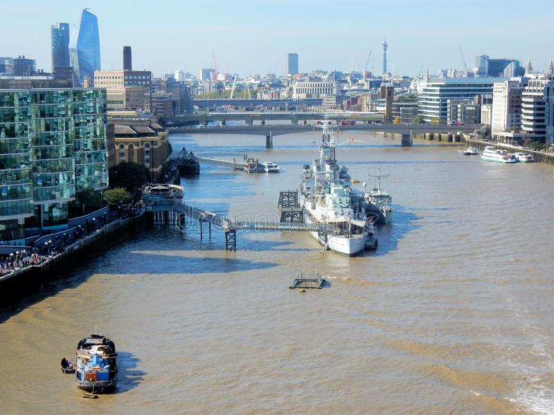 London, View from Tower Bridge on River Thames with HMS Belfast, London Bridge stock images