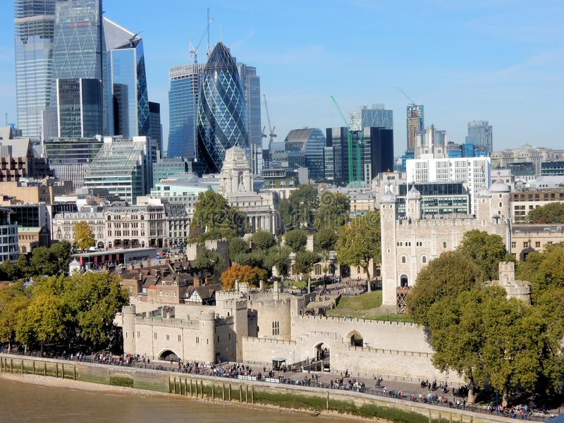 View at Tower of London, skyscrapers and surroundings stock photography