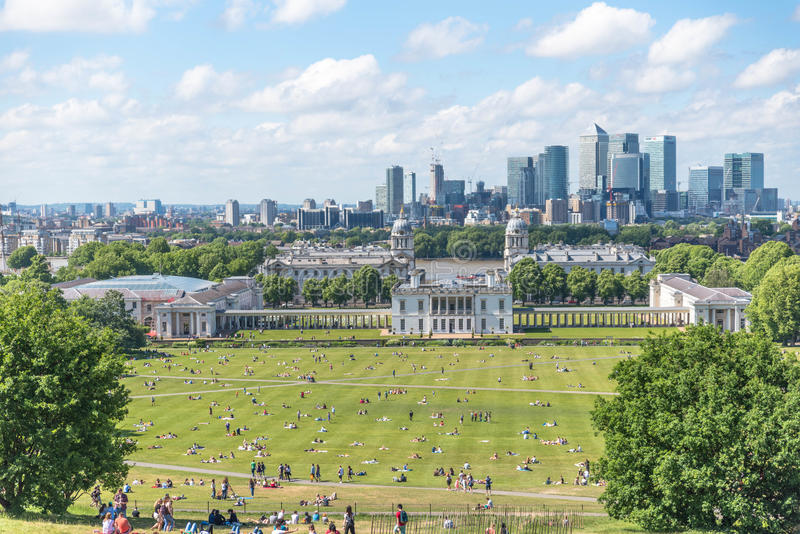 London vom Greenwich-Hügel lizenzfreie stockfotografie