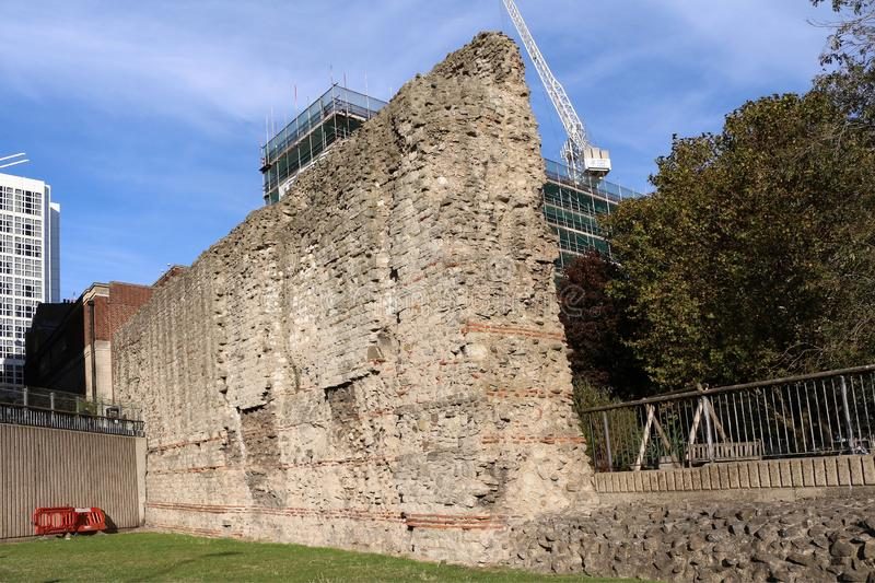 London Wall. Was the defensive wall first built by the Romans around Londinium, their strategically important port town on the River Thames in what is now stock photo