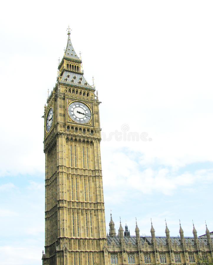London westminster big ben. Westminster palace and the world famous big ben against light sky stock photography