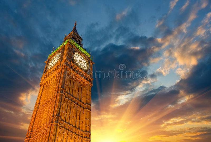 London, Wonderful upward view of Big Ben Tower and Clock at suns stock photos