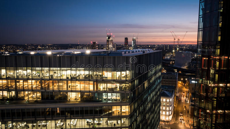 London working late stock photography