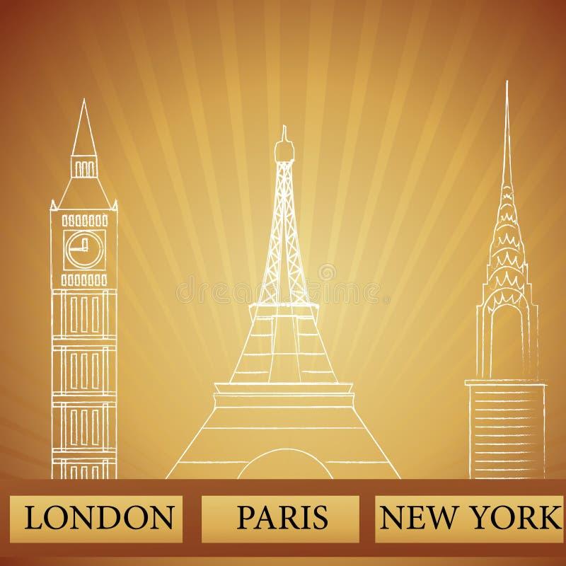 london zabytki nowy Paris York ilustracji