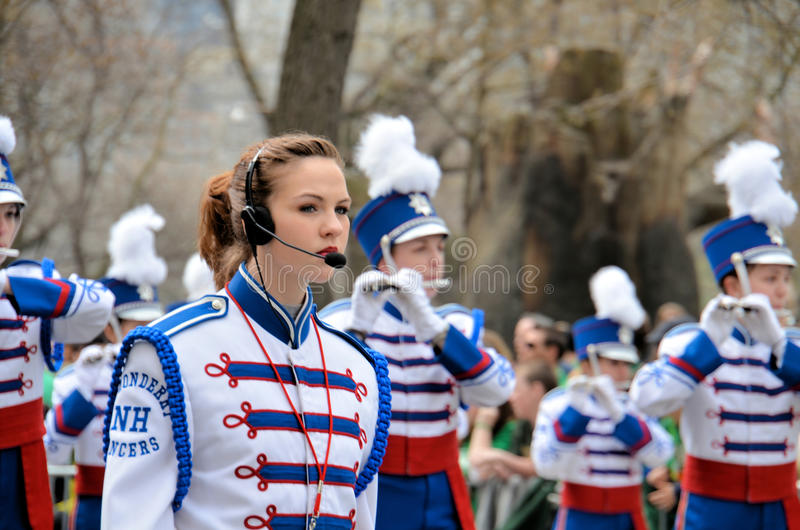 Londonderry High School Lancers Marching Band. From New Hampshire, marching during the 2012 Saint Patrick's Day Parade on 5th Avenue New York royalty free stock photography