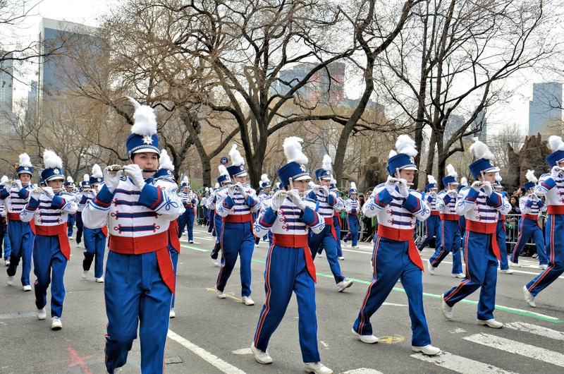 Londonderry High School Lancers Marching Band. From New Hampshire, marching during the 2012 Saint Patrick's Day Parade on 5th Avenue New York stock image