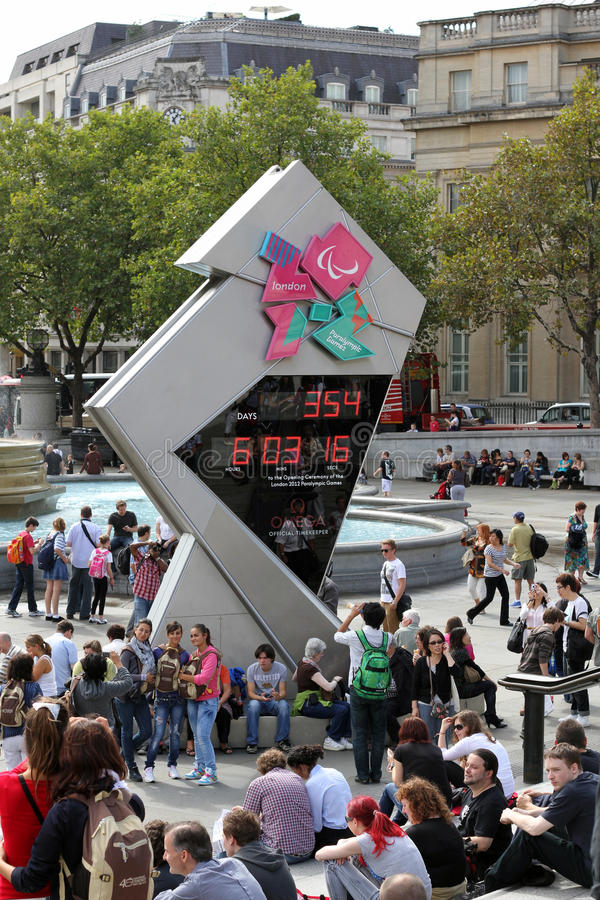 Londonolympics-Count-down-Borduhr lizenzfreies stockfoto