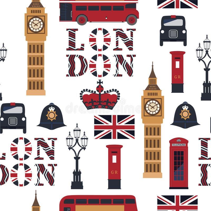 Londons标志:出租汽车,岗位箱子,电话,大本钟,双层公共汽车,灯 皇族释放例证