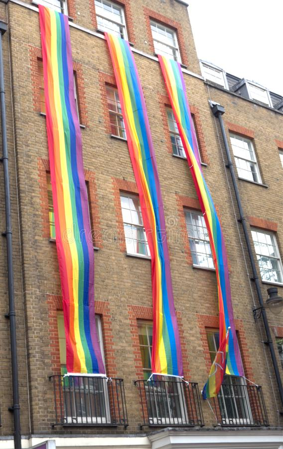 Londons shops and residents come together to celebrate London Pride 2019. London Pride 2019 celebrating gay, lesbian, bi-sexual, transexual and curioious genders stock images