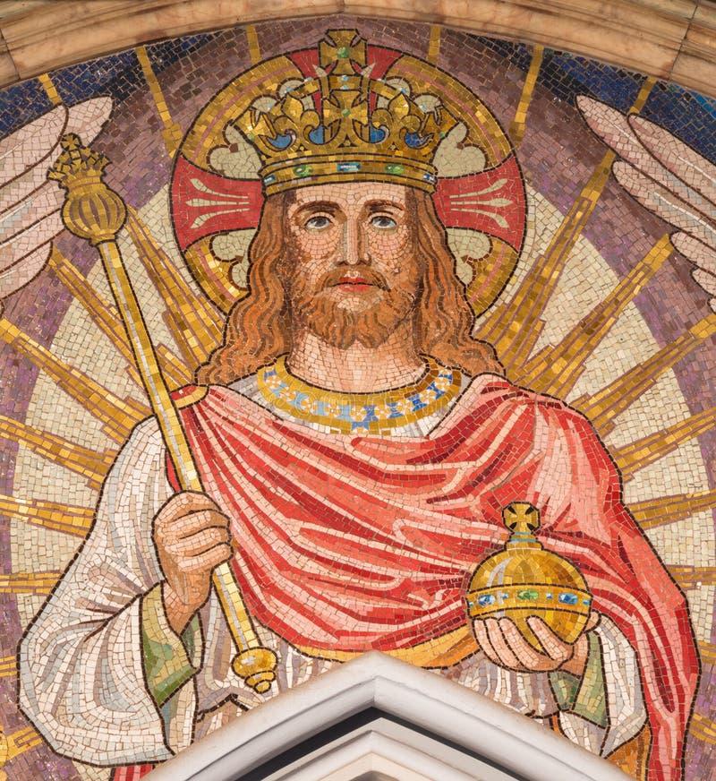 LONDRA, GRAN BRETAGNA - 19 SETTEMBRE 2017: Il mosaico di Gesù il re nella fila del ` s Rochester di St Stephen della chiesa fotografia stock
