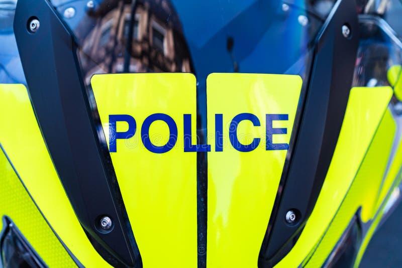 Londra, Regno Unito - 19 aprile 2019: Segno della motocicletta della polizia, primo piano fotografia stock