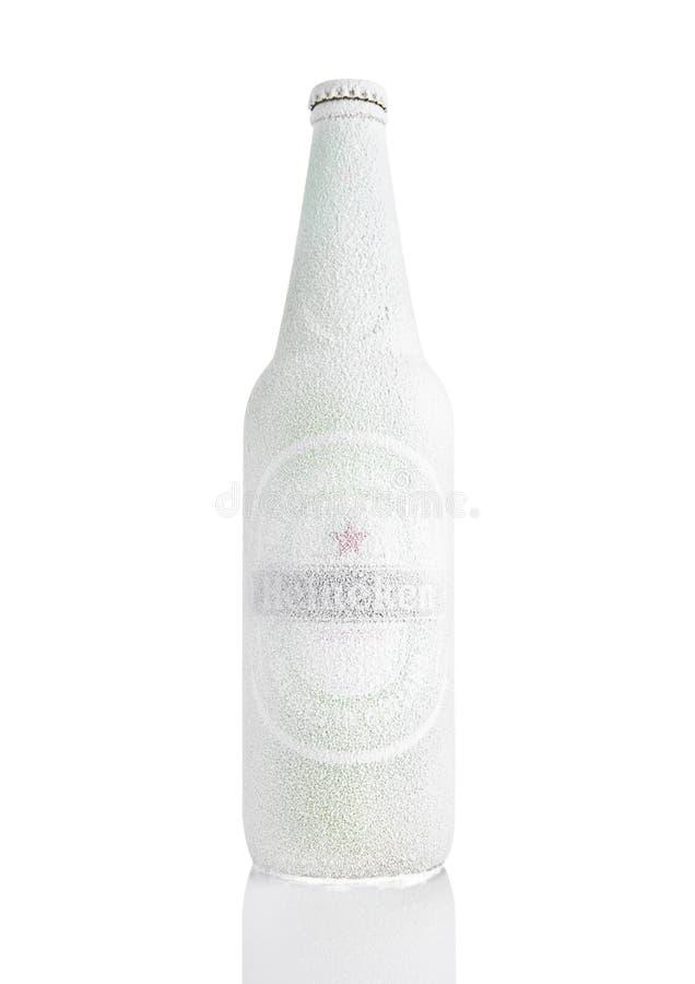 LONDRA, REGNO UNITO - 11 NOVEMBRE 2016: Bottiglia di Heineken Lager Beer coperta di neve Heineken è il prodotto di nave ammiragli fotografia stock libera da diritti