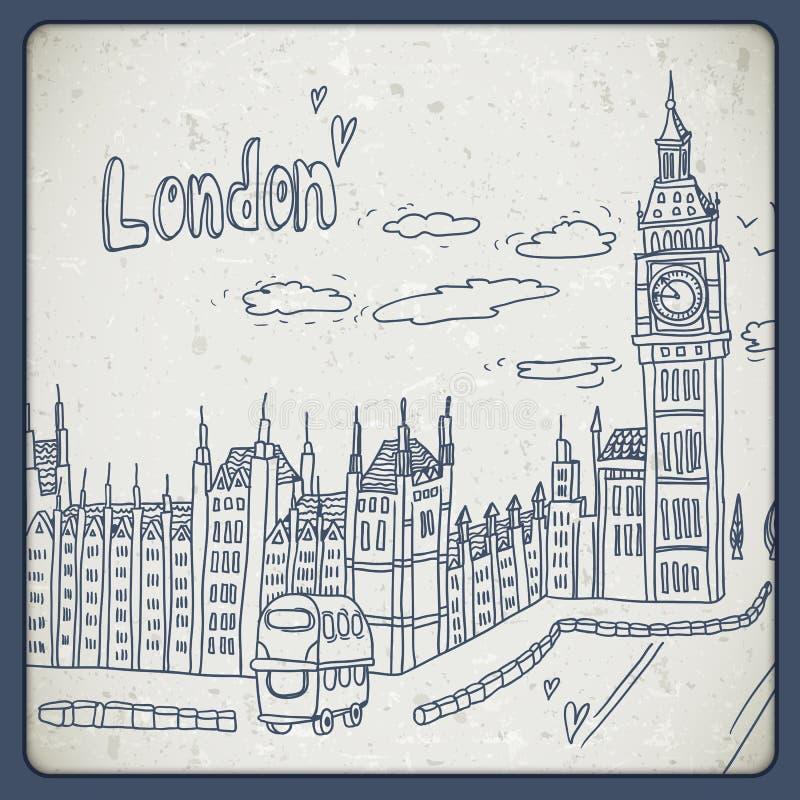 Londra scarabocchia il paesaggio del disegno nello stile d'annata royalty illustrazione gratis