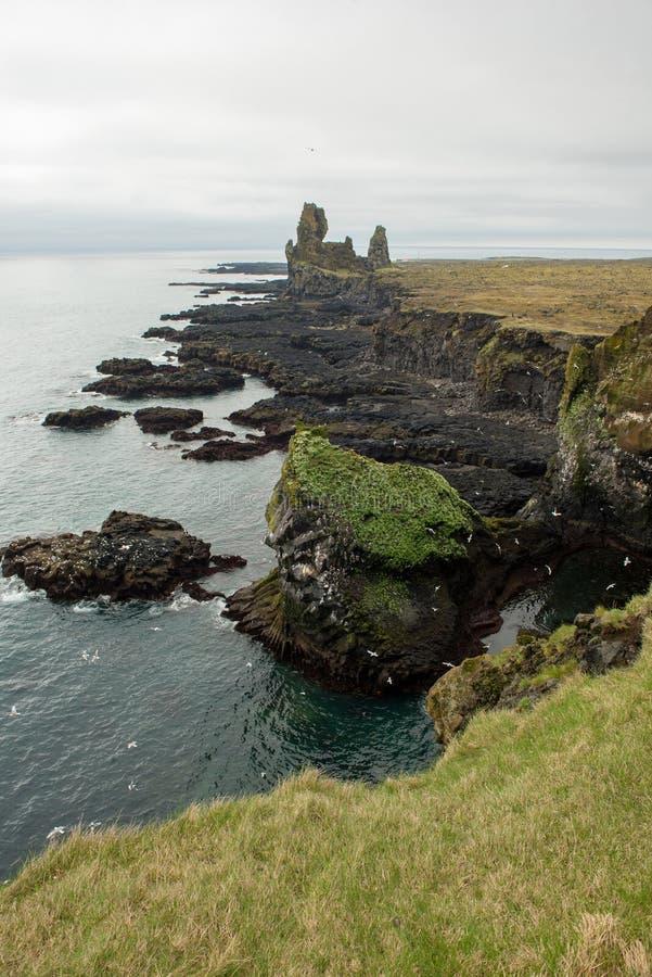 Londrangar Basalt Cliffs in Iceland royalty free stock images