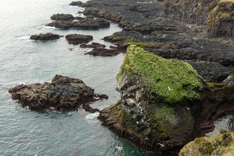 Londrangar Basalt Cliffs in Iceland royalty free stock photography