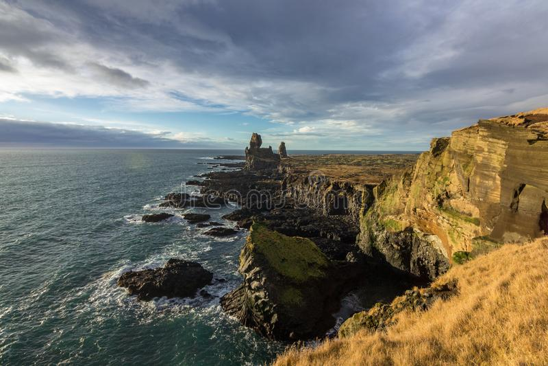 Londrangar Basalt Cliffs in Iceland stock photos