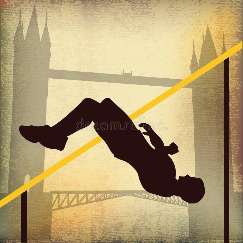 Londres 2012, salto elevado e ponte da torre ilustração royalty free