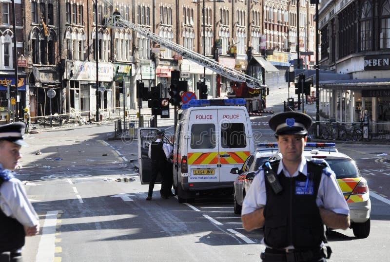 LONDRES - 9 DE AGOSTO: El área de la ensambladura de Clapham es sacke