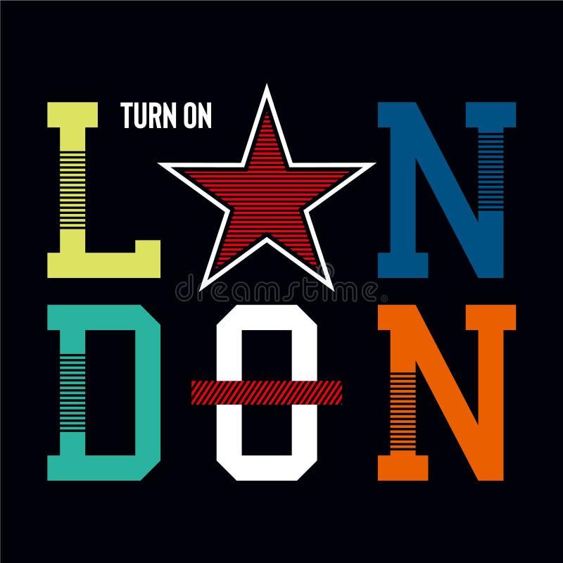 Londres allument la typographie graphique de conception illustration stock