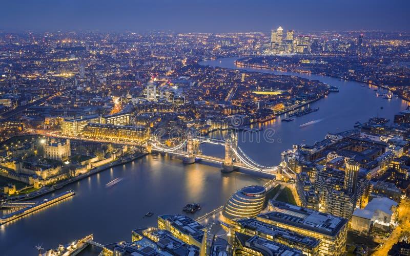 Londres, Angleterre - vue aérienne d'horizon de Londres image stock