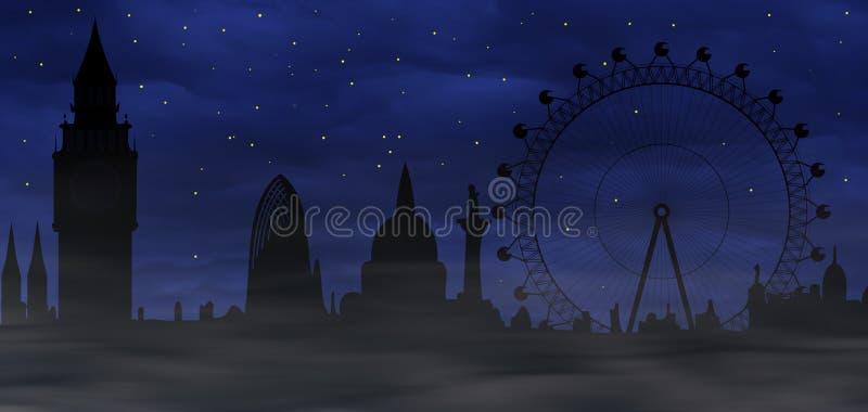 Londres brumoso - atmósfera sombría ilustración del vector