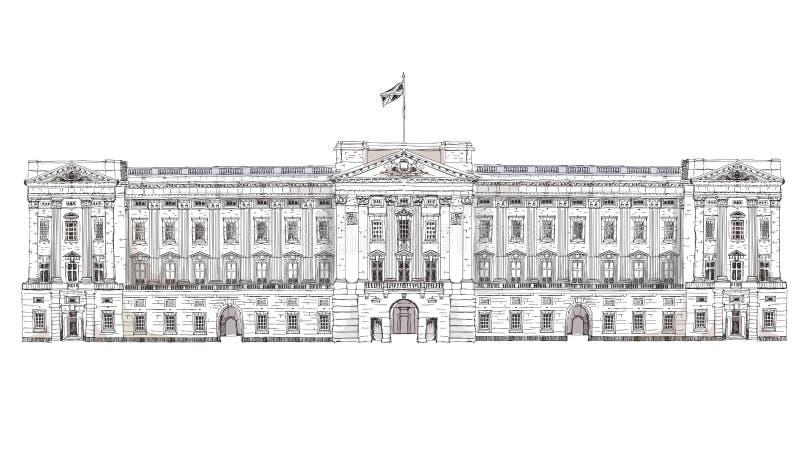 Londres Buckingham Palace Bâtiments célèbres de fond de Londres, de voyage et d'affaires illustration stock