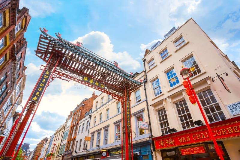 Londres Chinatown en Gerrard Street en Londres, Reino Unido fotografía de archivo