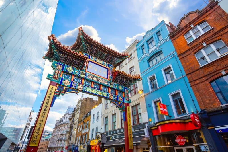 Londres Chinatown en Gerrard Street en Londres, Reino Unido imagen de archivo libre de regalías