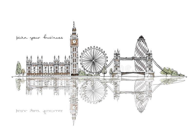 Londres, colección del bosquejo ilustración del vector