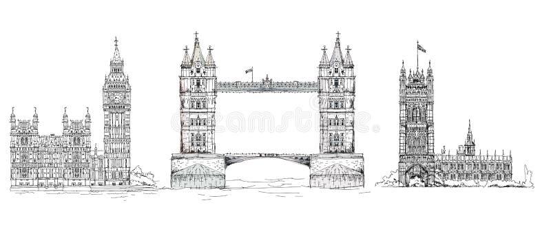Londres Construções famosas do fundo de Londres, de curso e de negócio ilustração royalty free