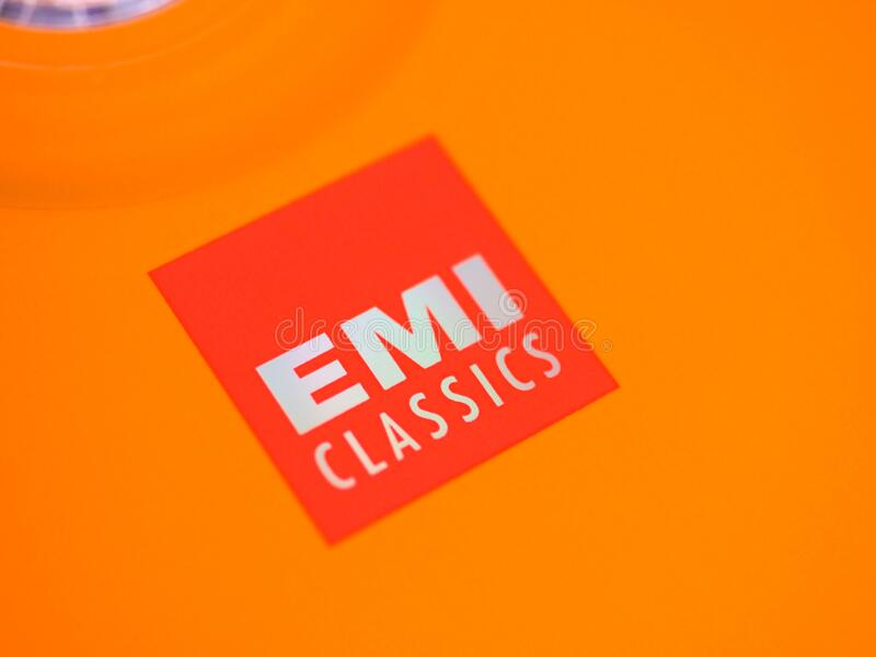 LONDRES - DEC 2019: Signo EMI Classics sobre música clásica cd fotografía de archivo