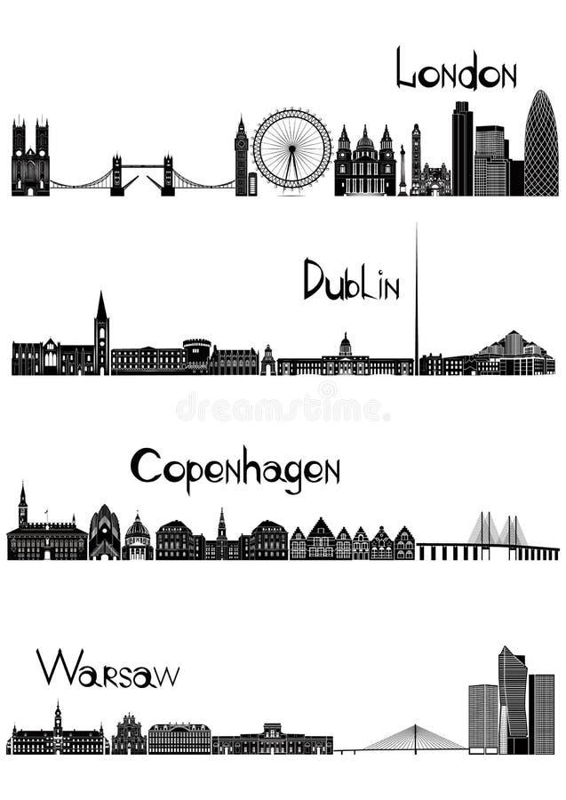 Londres, Dublín, Varsovia y Copenhague, vector del b-w libre illustration
