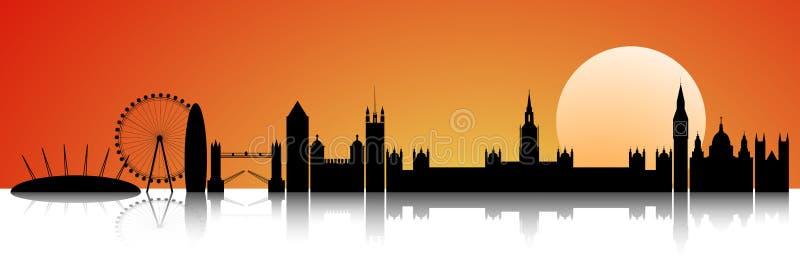 Londres en el horizonte de la puesta del sol stock de ilustración