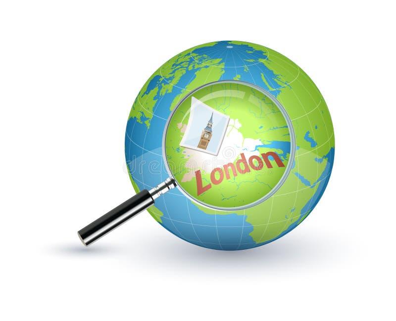 Londres enfocó con la lupa en el globo del mundo ilustración del vector
