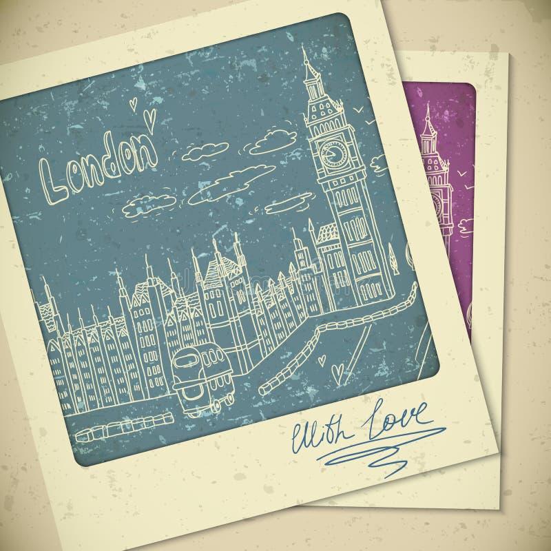 Londres garabatea paisaje del dibujo en estilo del vintage ilustración del vector