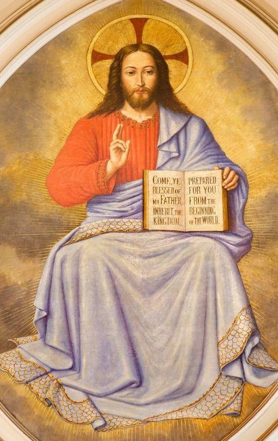 LONDRES, GRÂ BRETANHA - 17 DE SETEMBRO DE 2017: O fresco de Jesus Christ o professor na igreja St Martin, Ludgate por artista des fotografia de stock royalty free
