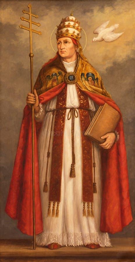 LONDRES, GRÂ BRETANHA - 17 DE SETEMBRO DE 2017: A pintura do papa St Gregory o grande o doutor da igreja Católica ocidental fotografia de stock royalty free