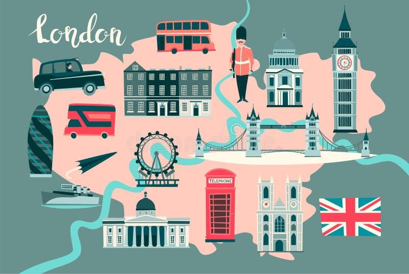 Londres ilustró vector del mapa Cartel abstracto del atlas ilustración del vector