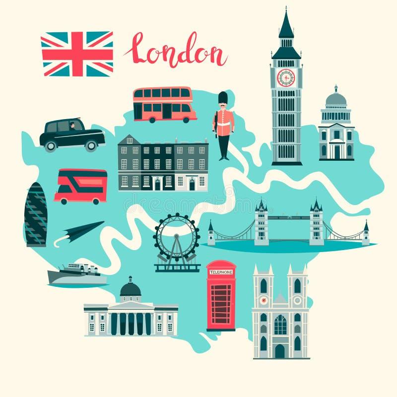 Londres ilustrou o vetor do mapa Cartaz colorido abstrato do atlas ilustração royalty free