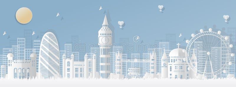 Londres, Inglaterra con vistas de las señales famosas y de las ciudades de calidad mundial, corte del papel de los ejemplos del c ilustración del vector
